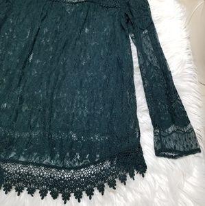 Zara Tops - Zara Emerald Green Floral Lace Blouse Large